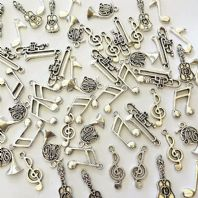 50 Tibetan Silver Music Instrument / Note Charms 6 Designs